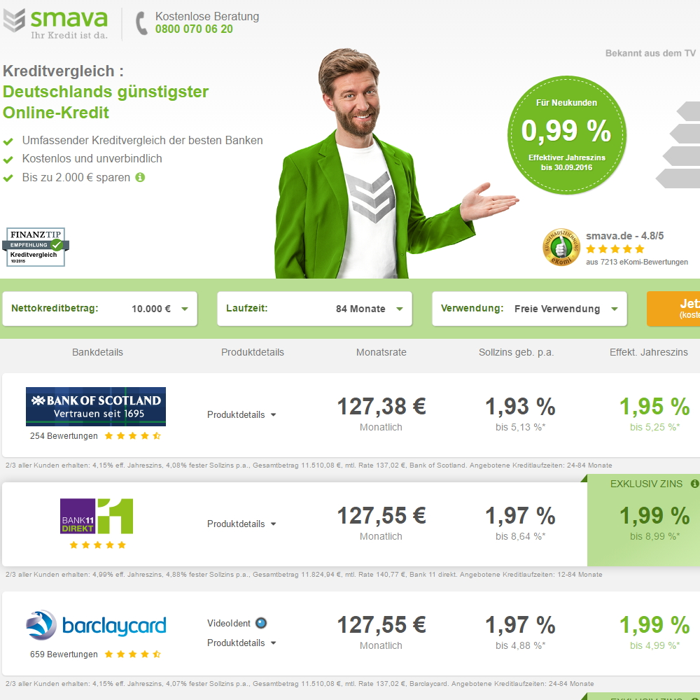 Screenshot smava Homepage