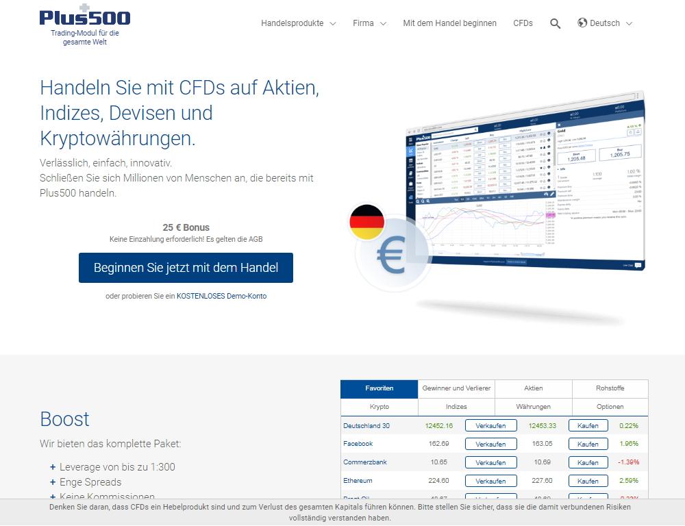 Plus500 homepage
