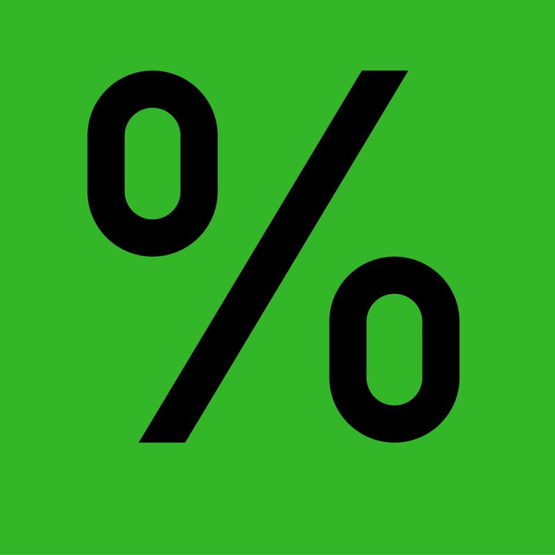 Prozentsymbol auf grünem Grund