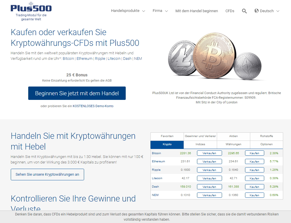 BDSwiss Bitcoin homepage