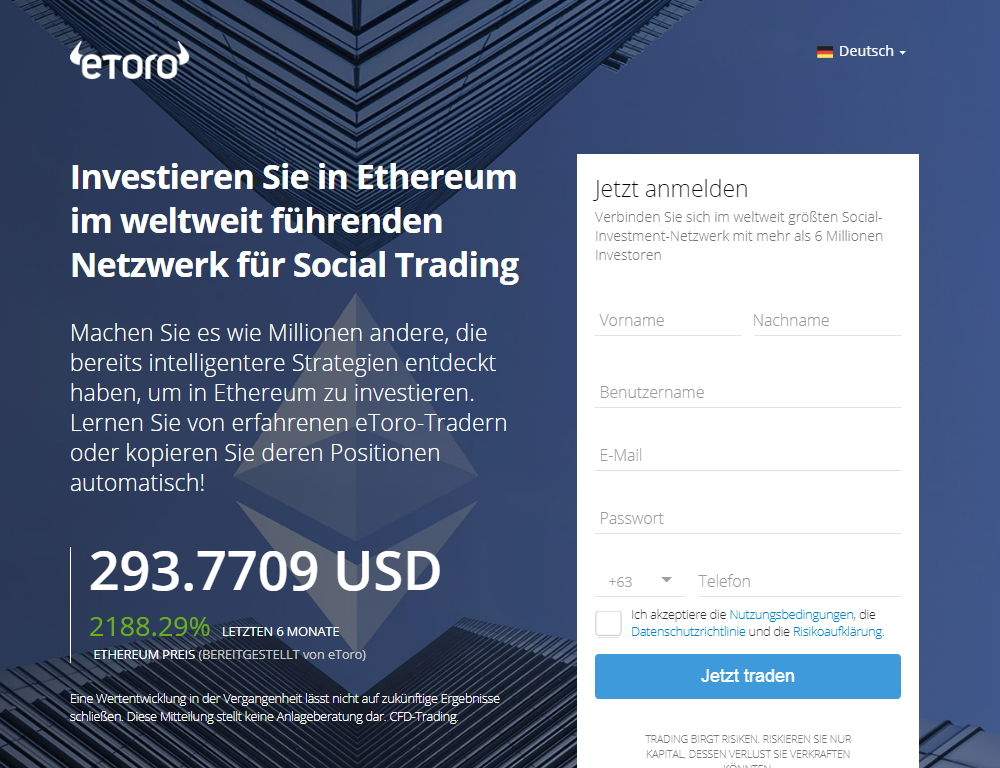 etoro ethereum homepage