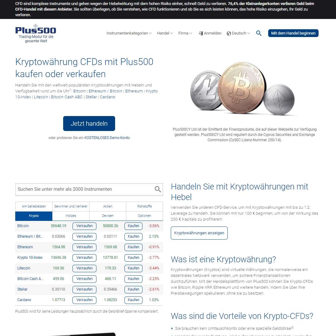 Plus500 Bitcoin homepage